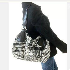 Large Black and White Houndstooth Shoulder Bag